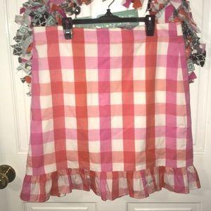 J. Crew pink and orange plaid skirt